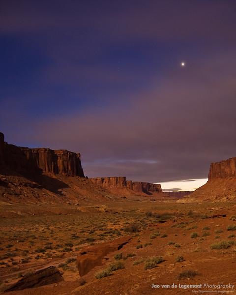 Moonlight illuminating Taylor Canyon