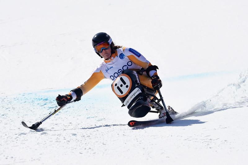 11-3-2017 SKIEN: 2017 WORLD PARA SNOWBOARD  WORLD CUP FINALS: PYEONGCHANG Training. Linda van Impelen. Foto: Mathilde Dusol