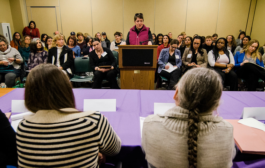 . Heather Mazzaferro, on behalf of Ginny\'s Helping Hands, speaks to the Massachusetts Commission on the Status of Women during an open forum at the Leominster Public Library on Tuesday afternoon. SENTINEL & ENTERPRISE / Ashley Green