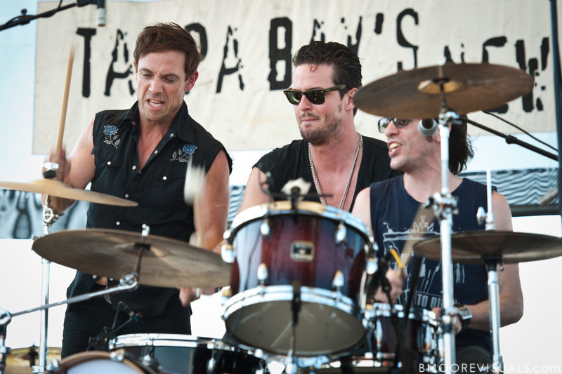 Mikel Jollett, Noah Harmon, and Daren Taylor of The Airborne Toxic Event perform on May 28, 2011 at Vinoy Park in St. Petersburg, Florida