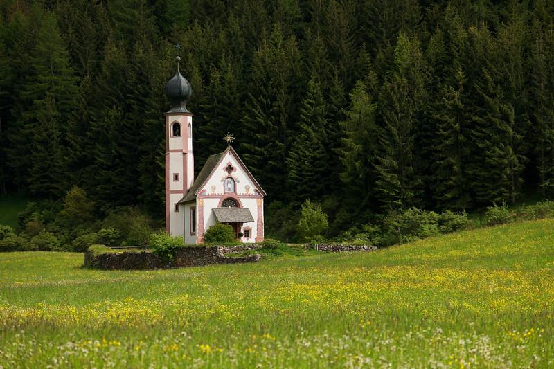 San Giovanni Church Closeup in Val Di Funes, Dolomites, Italy