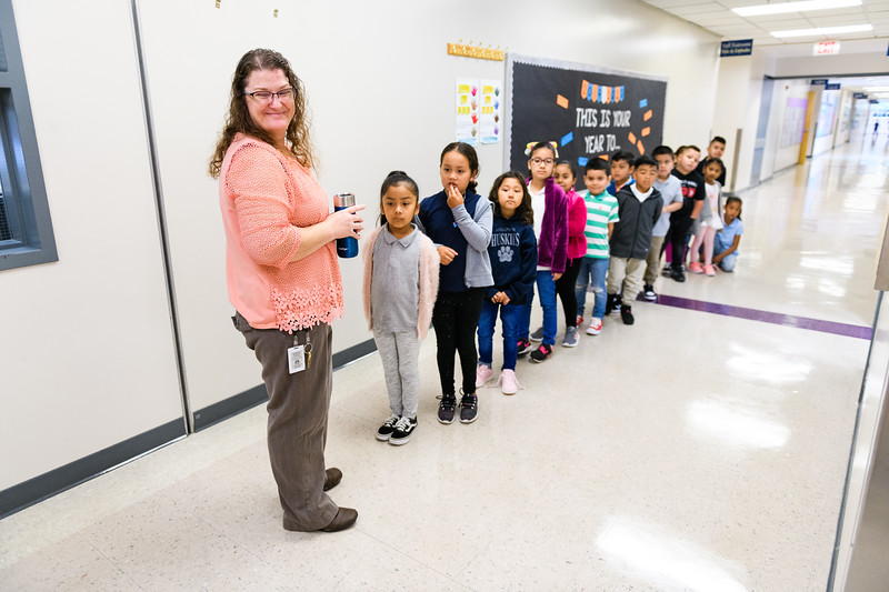 Teacher Amanda Whitaker helps her class take a bathroom break. Back to school day at Hallman Elementary School on Wednesday, September 4, 2019 in Salem, Ore.