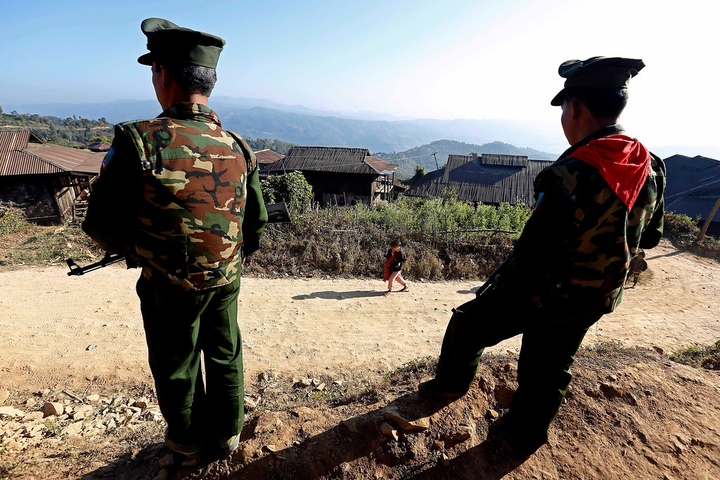 . Soldiers of the Ta-ang National Liberation Army (TNLA), one of the ethnic rebel groups, take position in Homain village, Nansam Township, Northern Shan State, Myanmar.  EPA/NYEIN CHAN NAING