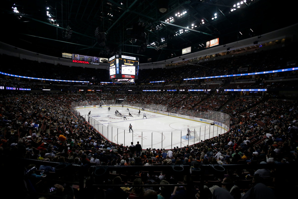 . The Anaheim Ducks play against the Colorado Avalanche during the second period of an NHL hockey game in Anaheim, Calif., Wednesday, April 10, 2013. (AP Photo/Jae C. Hong)