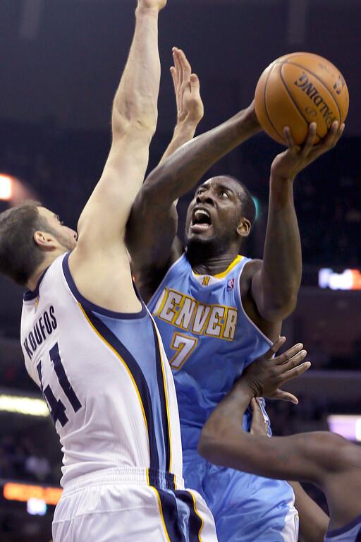 . Denver Nuggets\' J.J. Hickson (7) shoots over Memphis Grizzlies\' Kosta Koufos (41) during the first half of an NBA basketball game in Memphis, Tenn., Saturday, Dec. 28, 2013. (AP Photo/Danny Johnston)