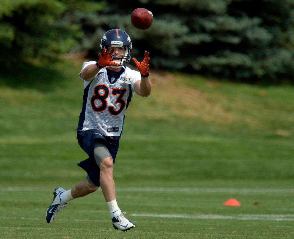 . Wes Welker (83) WR of the Denver Broncos catches a pass during the last day minicamp June 13, 2013 at Dove Valley. (Photo By John Leyba/The Denver Post)