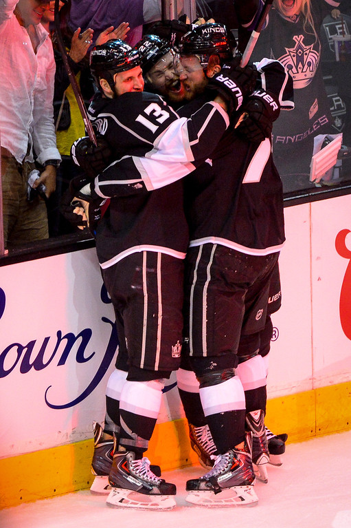 . Kings Kyle Clifford celebrates his goal with teammates during first period action at Game 1 of the Stanley cup Finals at Staples Center Wednesday, June 4, 2014 ( Photo by David Crane/Los Angeles Daily News )