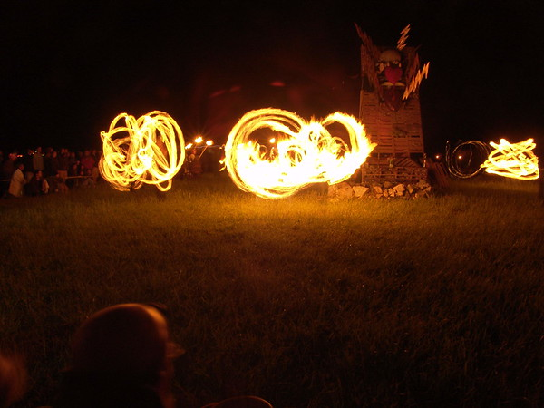 Fire dancing at the pre-burn ceremony, Interfuse 2005.