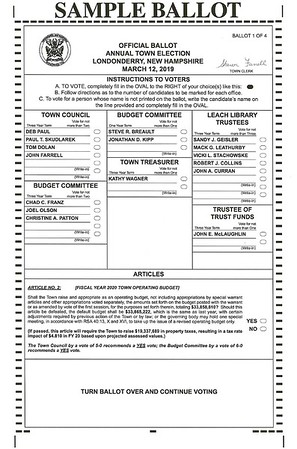 2019 March Elections Sample Ballot