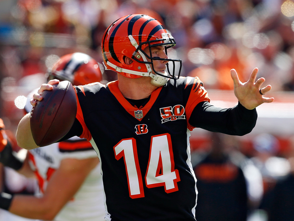 . Cincinnati Bengals quarterback Andy Dalton looks to throw in the first half of an NFL football game against the Cleveland Browns, Sunday, Oct. 1, 2017, in Cleveland. (AP Photo/Ron Schwane)