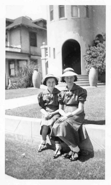 Jean and Peg - Easter 1936, Long Beach CA on Ocean Ave.jpg