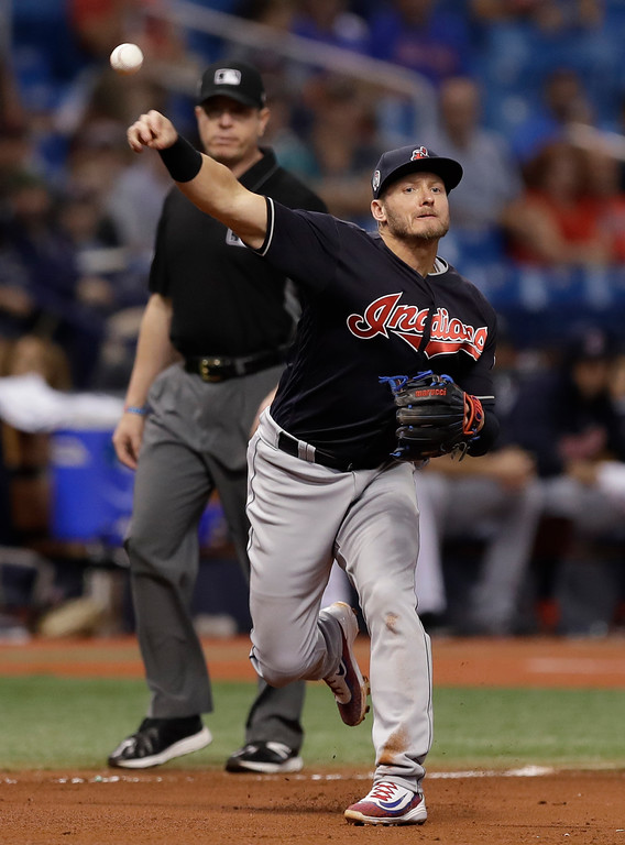 . Cleveland Indians third baseman Josh Donaldson throws out Tampa Bay Rays\' C.J. Cron at first base during the sixth inning of a baseball game Tuesday, Sept. 11, 2018, in St. Petersburg, Fla. (AP Photo/Chris O\'Meara)