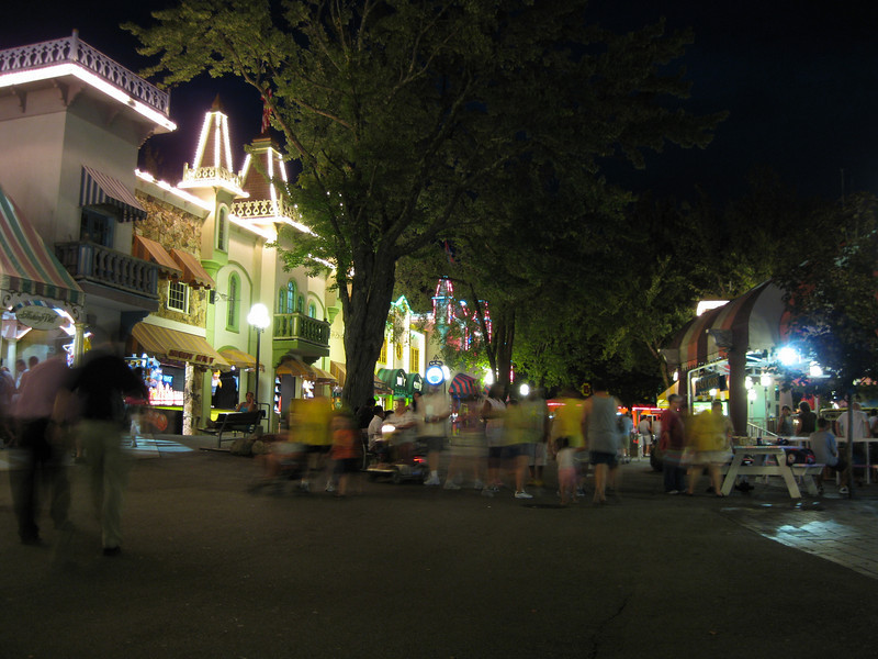 Midway at night.
