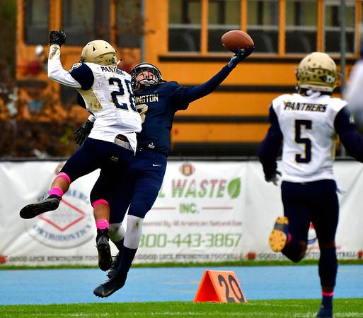 10/12/2019 Mike Orazzi | StaffrNewington High School's Austyn Howe (8) and Platt High School's Joshua Rodriguez (28) during Saturday's football game in Newington.