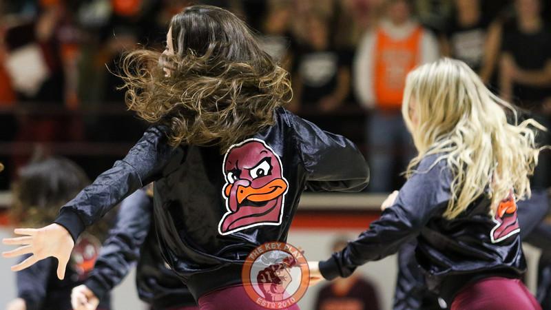 The Virginia Tech High Techs peform for the crowd during a media timeout. (Mark Umansky/TheKeyPlay.com)