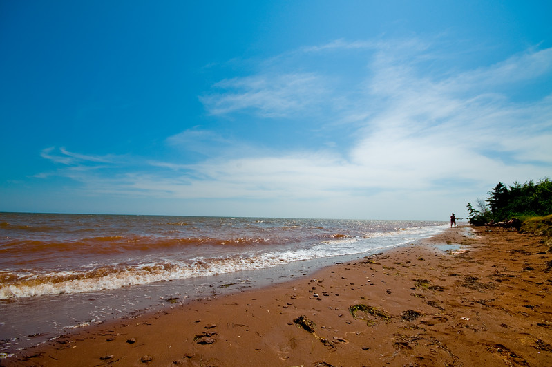 That red sand really does turn the water reddish along the shoreline on Prince Edward Island.
