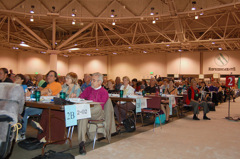 Voting members review the proposal for full communion with the United Methodist Church.