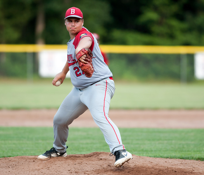 07/16/18  Wesley Bunnell | Staff  Bristol defeated Plainville in legion baseball on Monday night at Trumbull Park in Plainville. Stephen Warkoski (21).