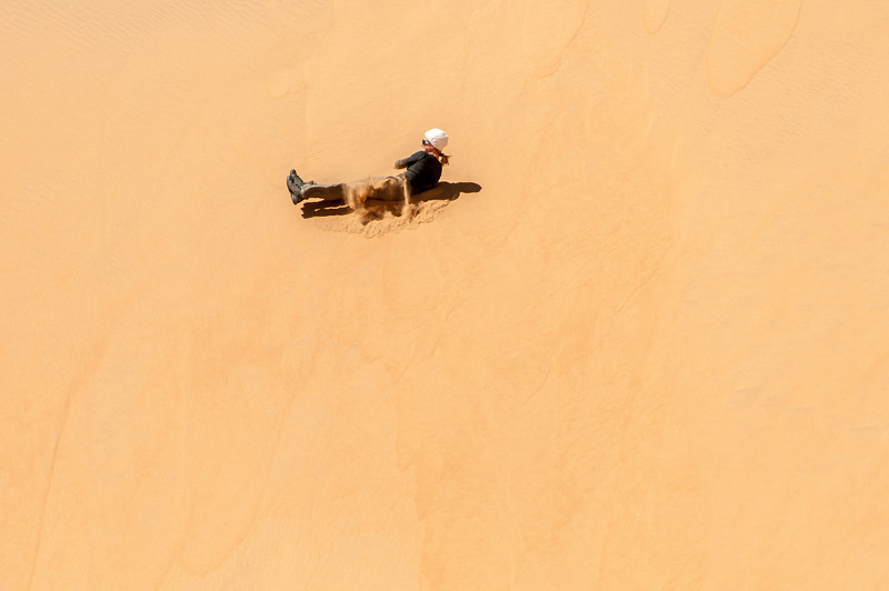 Sliding through the sand dunes of Namib Desert