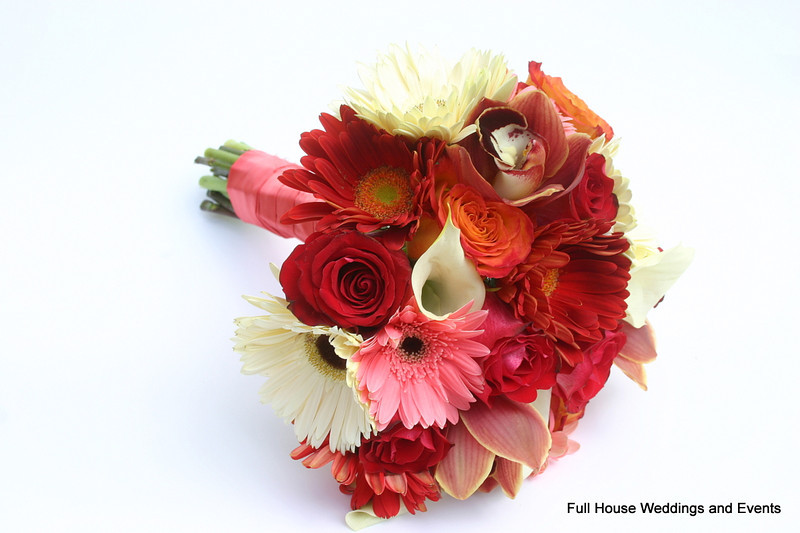 Bouquet - Red Rose, gerbera daisies, cymbidium orchid, mini calla