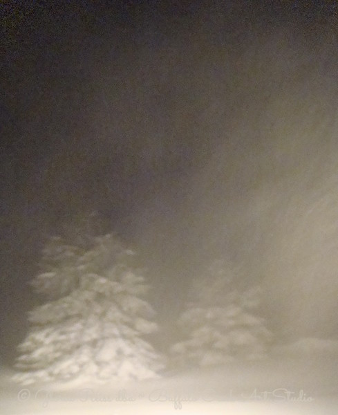 New Years Eve, blizzard after dark.