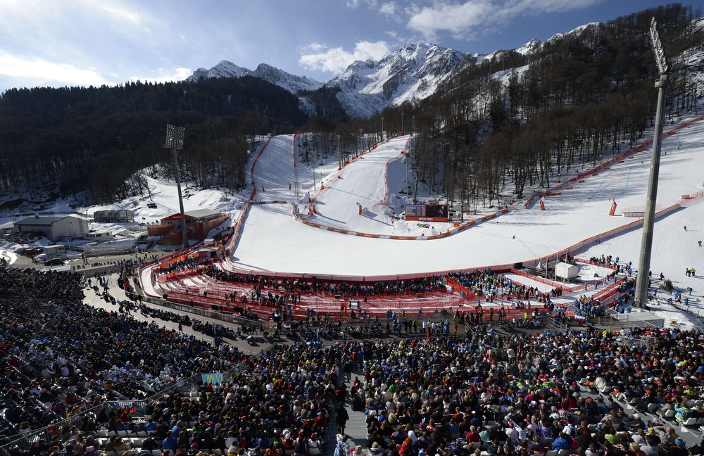 . The public attends the Women\'s Alpine Skiing Super-G at the Rosa Khutor Alpine Center during the Sochi Winter Olympics on February 15, 2014.  (FRANCK FIFE/AFP/Getty Images)