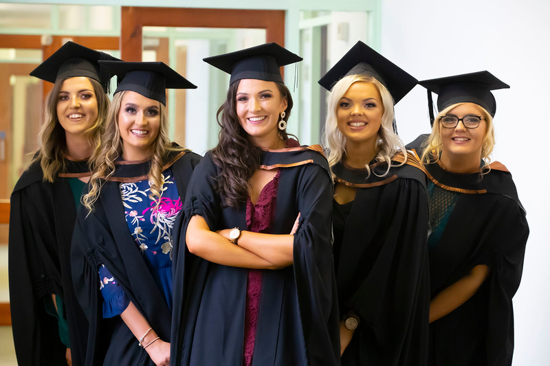 30/10/2019. Waterford Institute of Technology (WIT) Conferring Ceremonies are Kate Murphy Kerry, Rachel Cross Laois, Fiona Fenlon Carlow, Roisin Kinnane Tipperary and Danielle Cullen Tipperary. Picture: Patrick Browne