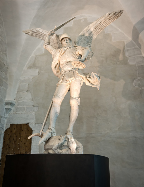 St. Michael.  Google images suggest that this did not always stand in the gift shop.  Hmmm, who knew that turtles were evil...