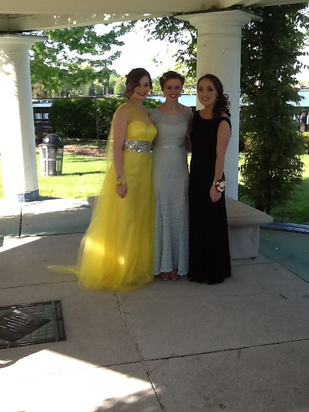 Grosse Pointe South Senior Prom - May 2015 with fellow cheerleaders Virginia and Abby - May 2015