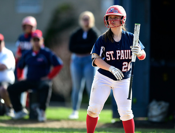 4/17/2019 Mike Orazzi | Staff St. Paul softball's Katrina Roy (20) during Wednesday's game with Watertown in Bristol.