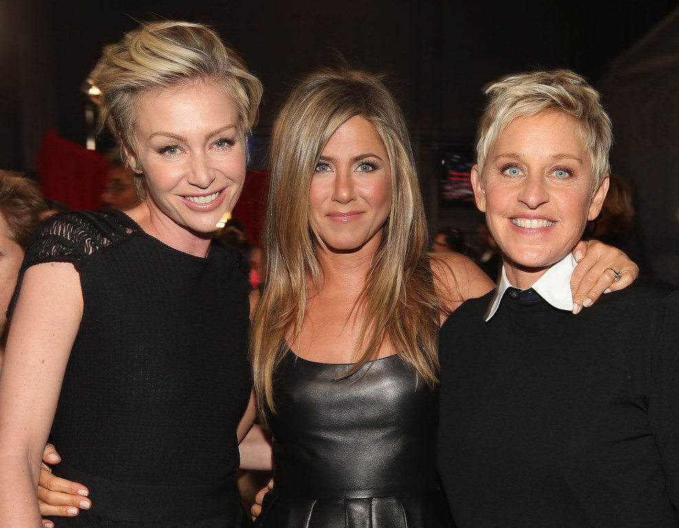 . (L-R) Actors Portia de Rossi and Jennifer Aniston and tv personality Ellen DeGeneres attend the 39th Annual People\'s Choice Awards at Nokia Theatre L.A. Live on January 9, 2013 in Los Angeles, California.  (Photo by Christopher Polk/Getty Images for PCA)