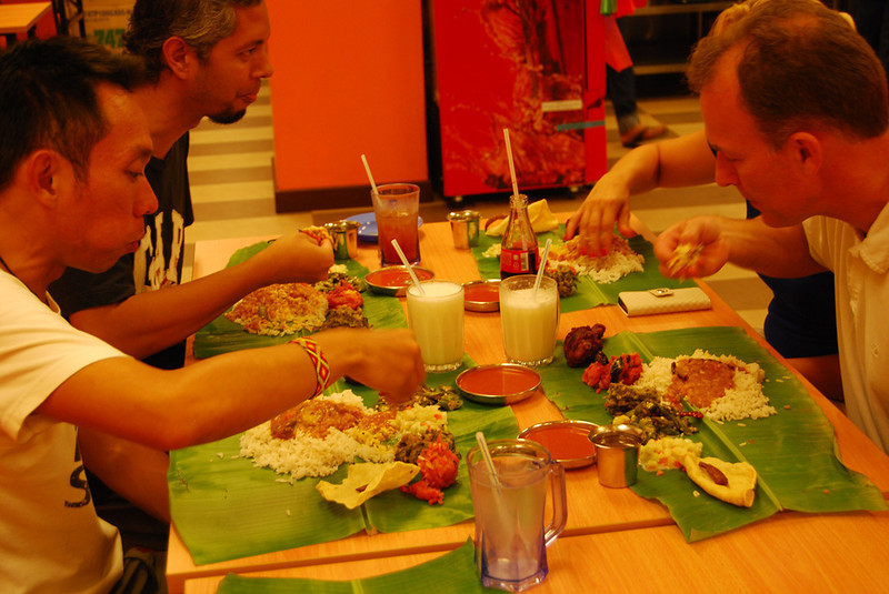 eating Banana Leaf meal with our hands in Kuala Lumpur.jpg