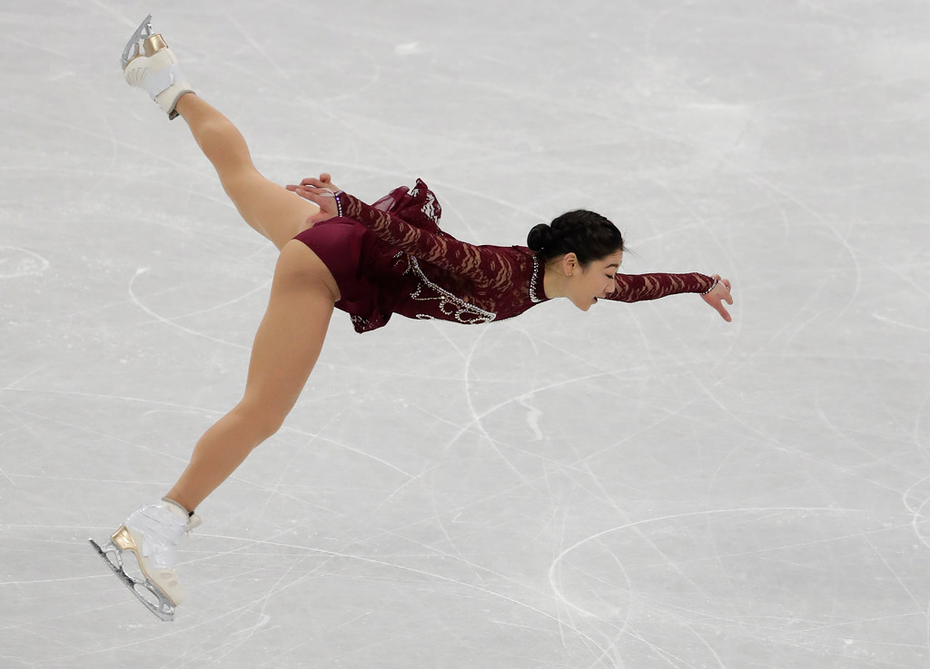 . Mirai Nagasu of the United States performs during the women\'s short program figure skating in the Gangneung Ice Arena at the 2018 Winter Olympics in Gangneung, South Korea, Wednesday, Feb. 21, 2018. (AP Photo/Julie Jacobson)