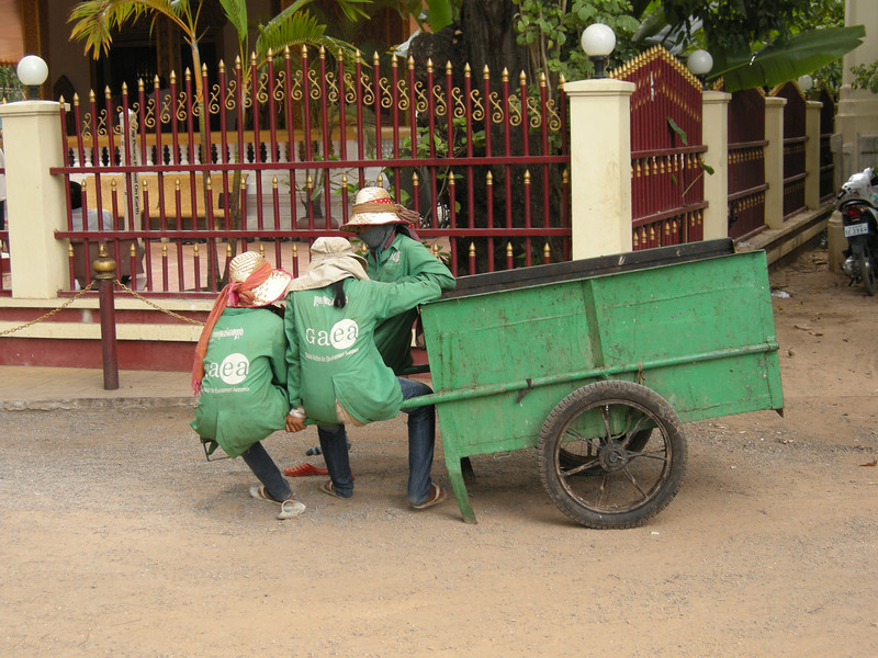 Workers in the park with face masks, Siem Reap