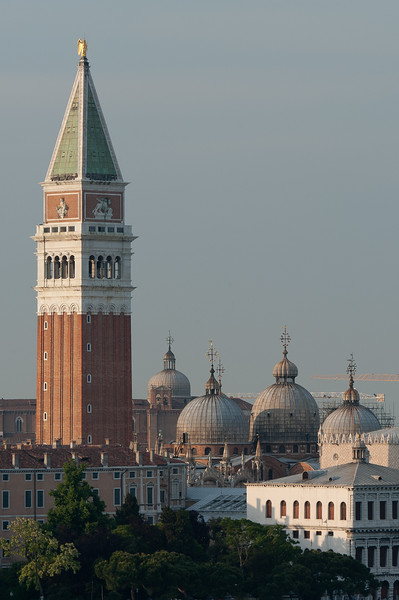 Isolated shot of St. Mark's Bell Tower and domes of Santa Maria della Salute - Venice, Italy