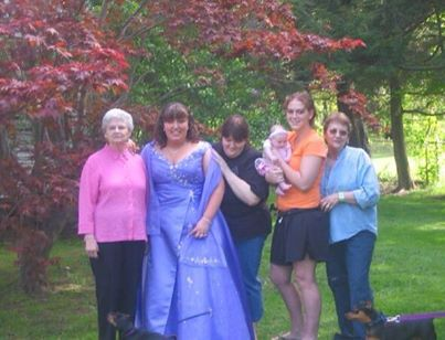 Description of . Kaila Drosehn with her grandmother Carol, great grandmother Elaine and her daughter Hannah with Hannah's grandmother Kelley (Kaila's mom). Photo submitted by Kaila Drosehn
