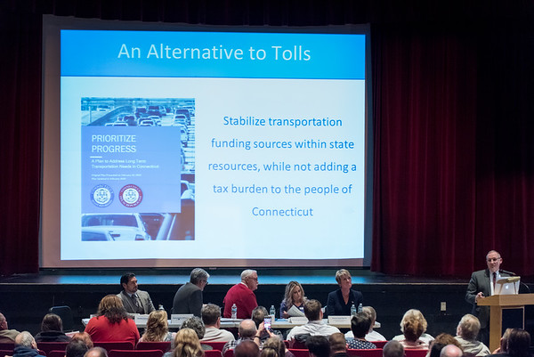 03/25/19 Wesley Bunnell | Staff CT Republicans held a conference on Monday evening at Bristol Central High School to discuss the highway toll proposals as well as alternative options. State Senator Henri Martin discusses alternatives to tolls.