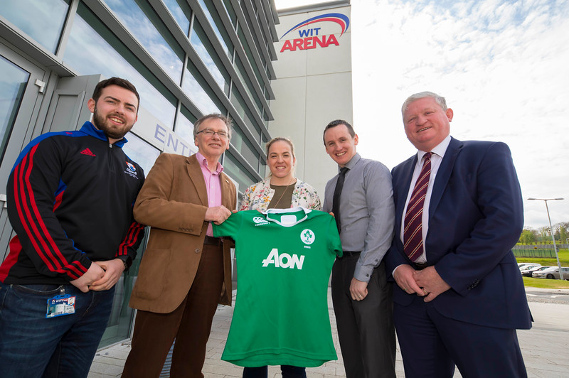 18/04/2017. Pictured at The WIT Arena at the augural WIT Arena Sporting Ambassador. Pictured are Alan Malone WIT Scholarship Co-ordinator, Prof. Willie Donnelly President of WIT,  Niamh Briggs WIT Arena Sporting Ambassador, John Windle WIT Arena Manager and Mike Geoghan CEO Campus Services. Picture: Patrick Browne