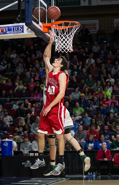 BANGOR, MAINE -- 02/22/2017 -- Central's Ethan P. Mailman makes a shot during their boys class B semifinal game against Mount desert Island at the Cross Insurance Center in Bangor on Wednesday afternoon. Micky Bedell | BDN