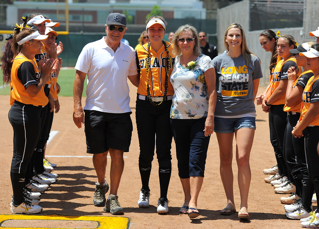 . Senior Loni Tyler and her family before LBSU lost to Cal Poly softball 3-0 in Long Beach, CA on Sunday, May 4, 2014.  (Photo by Scott Varley, Daily Breeze)