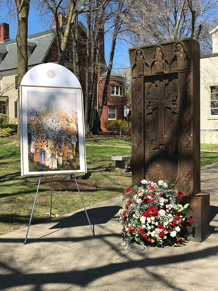 Sunday, April 23, 2017 - the Martyrs' Monument and the Icon of the Holy Martyrs of the Armenian Genocide outside the Church Sanctuary of Holy Trinity Armenian Church