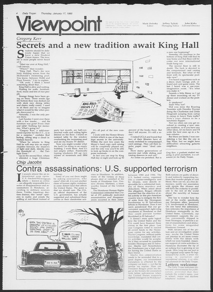 Daily Trojan, Vol. 98, No. 5, January 17, 1985