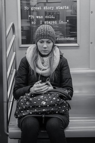 Subway passenger on a winter day