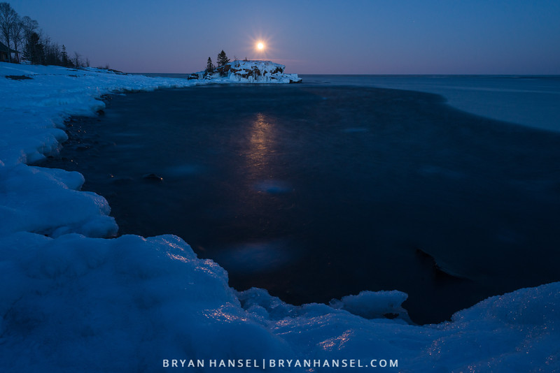 Moonrise over Hollow Rock
