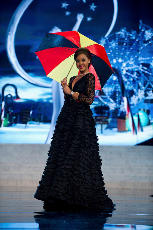 . Miss Belgium Laura Beyne performs onstage at the 2012 Miss Universe National Costume Show at PH Live in Las Vegas, Nevada December 14, 2012. The 89 Miss Universe contestants will compete for the Diamond Nexus Crown on December 19, 2012.   REUTERS/Darren Decker/Miss Universe Organization L.P./Handout