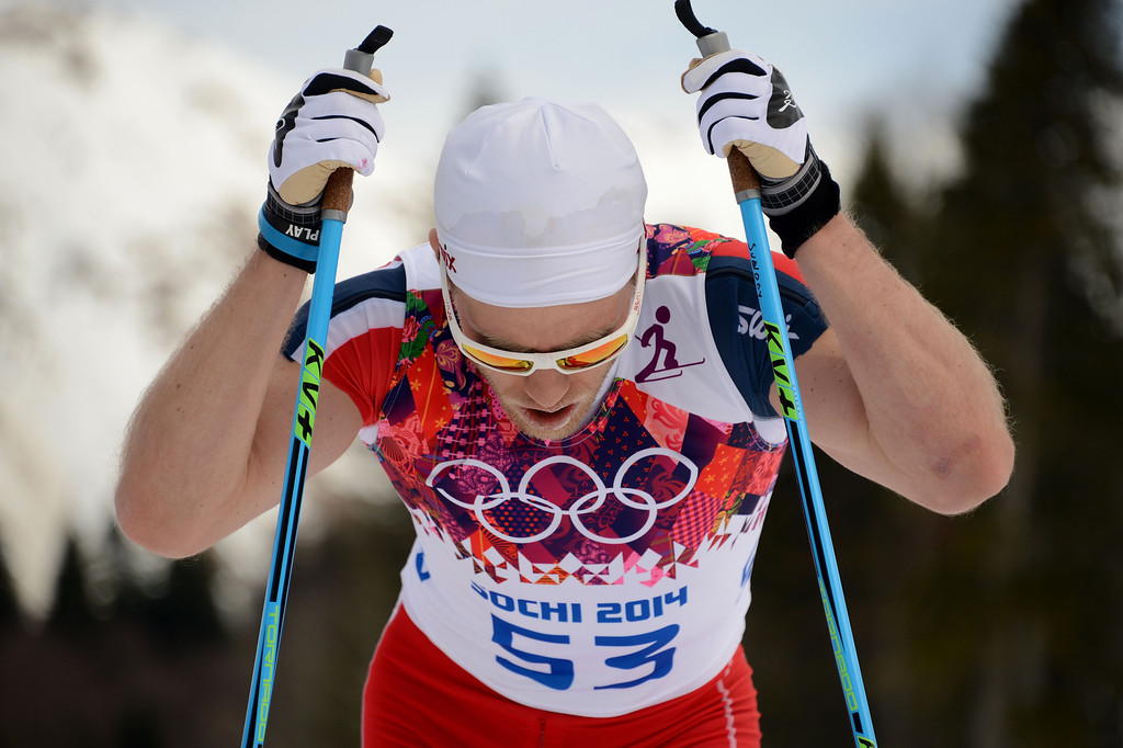 . Norway\'s Martin Johnsrud Sundby competes in the Men\'s Cross-Country Skiing 15km Classic at the Laura Cross-Country Ski and Biathlon Center during the Sochi Winter Olympics on February 14, 2014 in Rosa Khutor near Sochi.  The tough men\'s 15 km classic time trial saw apparel not usually associated with skiing, with many competitors wearing just T-shirts instead of the normal long-sleeves while others even bared their legs. KIRILL KUDRYAVTSEV/AFP/Getty Images
