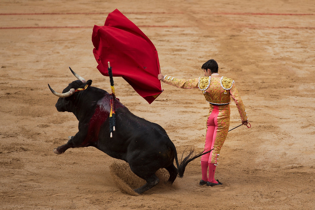 . Spanish bullfighter Alejandro Talavante performs with a Victoriano del Rio ranch fighting bull during a bullfight of the the San Fermin fiestas, in Pamplona, Spain, Wednesday, July 10, 2013. Revelers from around the world come to San Fermin festival to take part on the party and on some of the eight days of the running of the bulls glorified by Ernest Hemingway\'s 1926 novel \'The Sun Also Rises\'. (AP Photo/Daniel Ochoa de Olza)