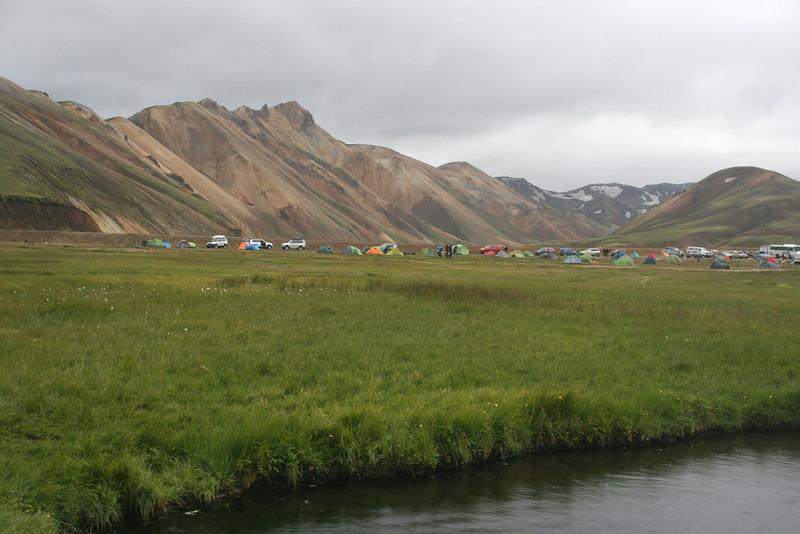 Tents near Landmannalauger hut.
