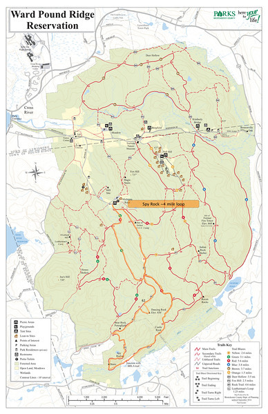 Spy Rock Loop course (~4 miles). Whole park map.