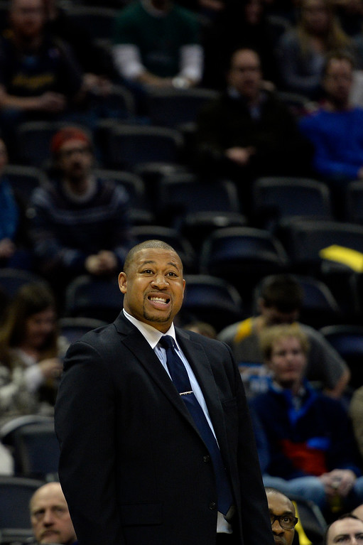 . DENVER, CO - MARCH 03: Interim head coach Melvin Hunt of the Denver Nuggets watches his team as they play the Milwaukee Bucks during the first quarter of action. The Denver Nuggets hosted the Milwaukee Bucks at the Pepsi Center on Tuesday, March 3, 2015. (Photo by AAron Ontiveroz/The Denver Post)